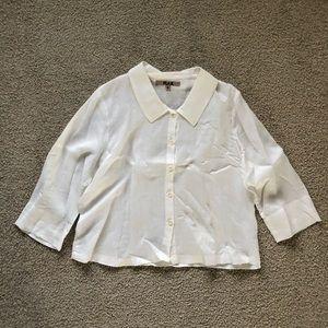 FLAX linen button up shirt casual Medium